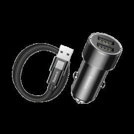 BASEUS Ładowarka samochodowa 2 X USB + kabel (TZXLD-A01) Black